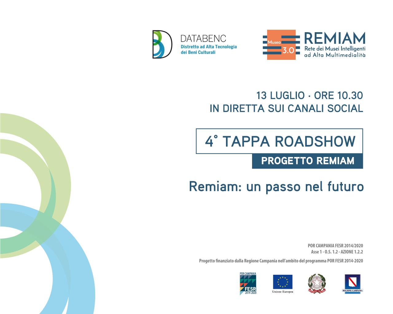 """""""REMIAM: un passo nel futuro"""", martedì 13 luglio tappa conclusiva del roadshow del progetto REMIAM"""